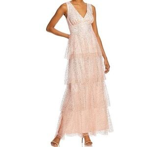 NWT Laundry by Shelli Segal Sequined Tiered   Gown